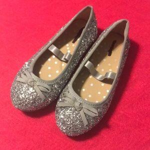 Cat & Jack Sliver Glitter Ballet Flats